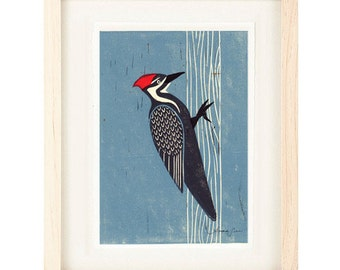 PILEATED WOODPECKER Poster Size Linocut Reproduction Art Print: 8 x 10, 11 x 14, 12 x 16