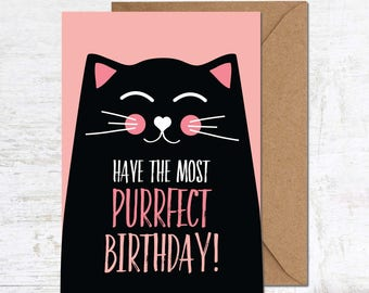 Funny Cat Card, Cat Birthday Card,Cat Lover Gift, Funny Birthday Card, Cute Birthday Card, Animal Birthday Card, Friend Birthday Card