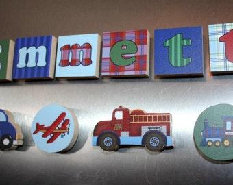 Transportation Firetruck Boys Name Magnets Fridge Bedroom Magnets NM0013