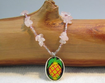 Pineapple Necklace beaded choker style with pink quartz and ostrich eggshell pendant