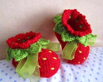 Red Strawberry Crochet Baby Booties - 4 Sizes - 0-3mo, 3-6mo, 6-9mo, 9-12mo