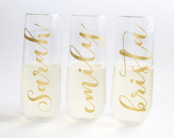Bridesmaid Flute/ Champagne Flute/ Rose Gold/ Bridesmaid Gift/ Stemless Champagne/ Toasting Flutes/ Champagne Glasses/ Monogram/ Rosegold