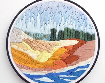 """Hand Embroidery, Fiber Art, Wall Hanging, 6-inch Embroidery Hoop, """"Oregon Memory"""""""