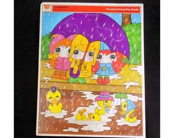 Vintage jigsaw puzzle - vintage puzzle decor -Retro Children's jigsaw puzzle -vintage child's puzzle - Title Raindrops- 1972 puzzle - # 2