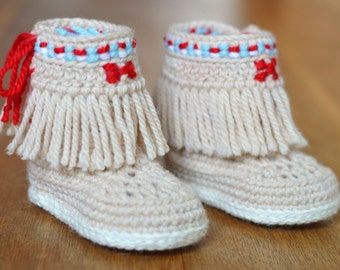 CROCHET PATTERN Baby Booties Fringe Moccasins instructions for 3 Sizes 3-6 months, 6-9 months, 9-12 months PDF Instant Download Digital File