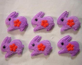 LOT 6 APPLIQUES: 40mm purple Bunny