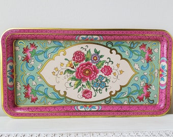 Vintage Pink & Aqua Metal Tray by Daher England, Cottage Chic Decor