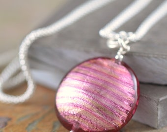 Ruby Necklace Pink glass necklace Murano glass necklace Pink pendant Venetian glass necklace gifts for her