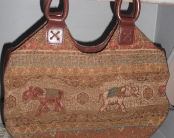 Vintage Marlo Tapestry Bag ~ Elephants ~ Exotic detailing ~ Handbag ~ Boho Top handled bag