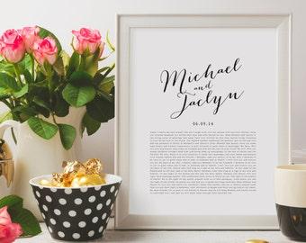 Wedding Vows Valentine's Day Gift Keepsake Print for Newlyweds & Anniversaries - Calligraphy