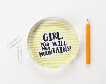 Girls Office Inspirational Quote Paperweight Black Yellow Typography Paper Weight New Job Desk Accessories Teacher Gifts College Graduation