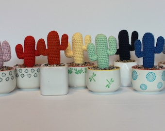 Crochet saguaro cacti in ceramic pots