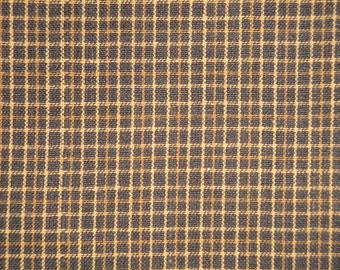 Homespun Fabric  | Rag Quilt Fabric | Cotton  Sewing Fabric | Primitive Fabric | Rustic Fabric | Black And Khaki Small Plaid Fabric |