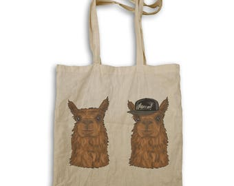 Alpaca Hipster Character Funny Smile Tote bag g679r
