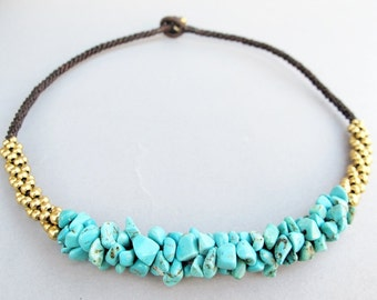 Summer Blue Turquoise Chip Stone Necklace with Brass Bead