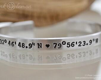 Latitude Longitude Cuff Bracelet - Coordinate Bracelet - Latitude Bracelet - Message Bracelet - Personalized Cuff