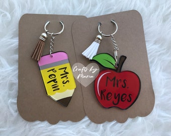 Personalized Pencil or Apple Keychain