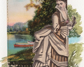 OOAK Handmade Blank Greeting ART card Victorian Woman by the River LOVELY