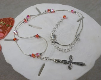 SALE Cross Necklace, Silver Cross, Pink Crystal