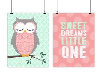 mint coral nursery owl wall art - baby nursery quote - sweet dreams - baby room owl decor - toddler girls art - little girls bedroom