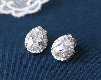 Silver teardrop earrings, Cubic Zirconia earrings, Teardrop stud earrings, Bridesmaid gift, Wedding bridal earrings, Wedding earrings,