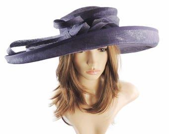 Aubergine  Wide Upturned Sinmay Hat for Kentucky Derby, Weddings, Ascot, Garden Parties