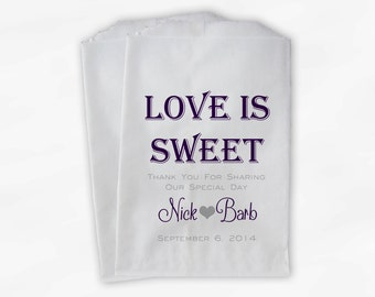 Love Is Sweet Wedding Candy Buffet Treat Bags - Personalized Favor Bags in Dark Purple and Gray - Custom Paper Bags (0069)