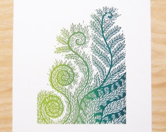 """Woodblock Print - """"Life's Design"""" - Fiddlehead Fern - Plant Print - Wall Art"""