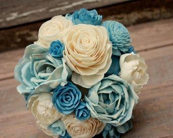 Sola flower bouquet, brides wedding bouquet, dusty blue wedding flowers, ecoflower bouquet, slate blue eco flowers, sola wood flowers