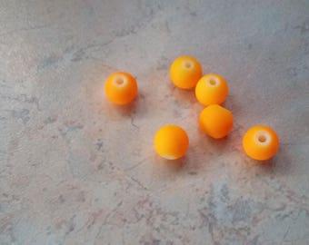 Satin 6mm orange resin beads