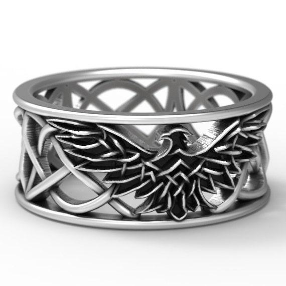 Sterling Silver Celtic Eagle Ring, Eagle Wedding Band, Mens Wedding Band, Irish Wedding, Eagle Jewelry, Celtic Knot Ring, Custom Size 1138