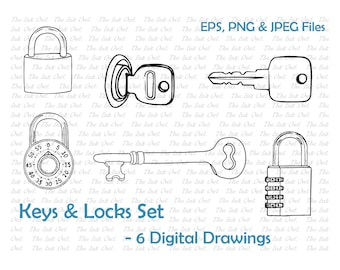 Keys & Locks Line Drawing Set - x6 - EPS, PNG, JPG - Digital Vector Image