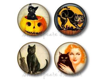 Black Cat Magnets - Fridge Magnets - Halloween Magnets - 4 Magnets - 1.5 Inch Magnets - Kitchen Magnets - Vintage Halloween