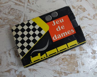 Checkers - travel set - vintage french game - travel game.