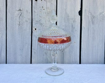 Indiana Art Glass Pedestal Candy Dish, Ruby Red Flash Diamond Point Centerpiece, EAPG Ruby Red Glass, Christmas Gift for Mom