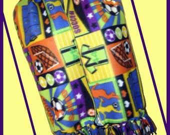 Girls Soccer Fleece Scarf,Multicolor Sport Novelty, Professional Finished Edges