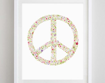 Peace Sign Floral Watercolor Art Print