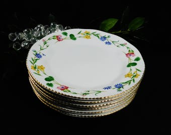 "Porcelain Lanka Salad or Lunch Plates, Set of 6 Plates, 8"", Floral with Gold Trim, Made in Sri Lanka"