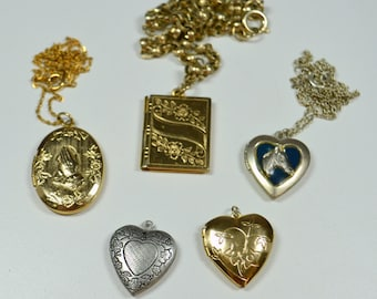 Vintage Lockets Lot of 5 Lockets 3 Heart Lockets Praying Hands Oval Locket Rectangle Book Locket Vintage Jewelry Lot