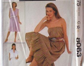 Make It Tonight Sewing Pattern - Boho Dress and Sleeveless Jacket - McCall's 8063 - Size Medium (14-16), Bust 36 - 38, Uncut