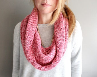 womens knit scarf in RASPBERRY - cotton - knit infinity scarf