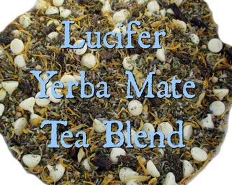 Lucifer Yerba Mate Tea Blend - loose leaf yerba mate tea, Luciferian, Demonolatry, mint tea, lavender, calendula, vanilla, white chocolate