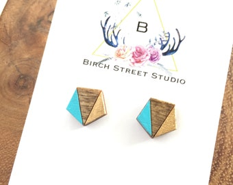 Blue and Gold Geometric Stud Earrings. Laser Cut Wood Earrings. Surgical Steel Earrings. Hypoallergenic Geometric Earrings. Tiny Studs