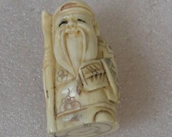"Vintage  Netsuke  Carved  Ox Bone Bearded Man With Staff 2"""