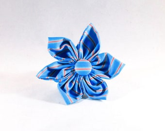 Preppy Aqua and Coral Seaside Girl Dog Flower Bow Tie