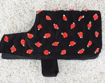 Velveteen Dog Coat with Roses