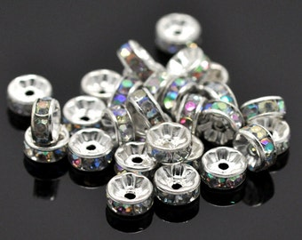 25 Silver Plated Clear AB Rhinestone Flat Edge Spacer Beads 8mm (B153d/405L)