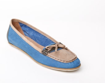 Women's leather shoes, women's loafers, blue flat shoes, blue womens shoes, blue loafers, leather flats, blue flats, rubber sole, handmade
