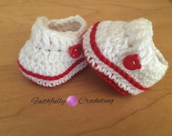 Newborn loafers... Red and white.. Bear buttons.. Baby shoes.. Ready to ship