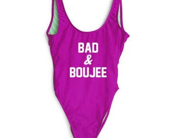 Ready to ship-Bad & boujee - Bathing suit, swim suit, one piece- fucshia